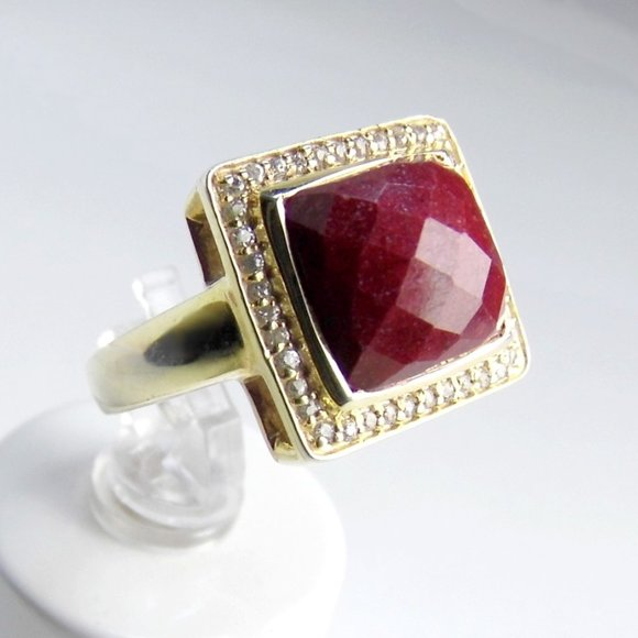 Genuine RUBY Gold over Sterling SILVER Ring size 7